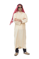 Portrait of Arabian man standing arms crossed isolated on white background