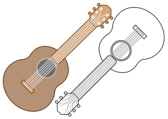 Guitar, musical instrument. Coloring book, vector illustration