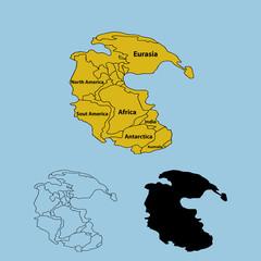 Pangaea or Pangea. Vector illustration