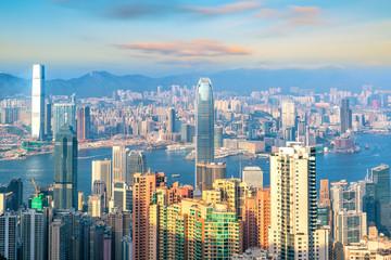 Türaufkleber Hongkong Hong Kong city skyline with Victoria Harbor view