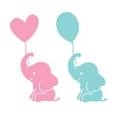 Cute baby elephants holding heart shape and oval balloons silhouette vector illustration.