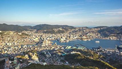 Wall Mural - Time Lapse video of Nagasaki skyline in Nagasaki, Japan timelapse 4K