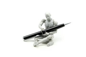 Model Robot with pen,Stationery,diy, innovation, modern technology concept. Stem education.