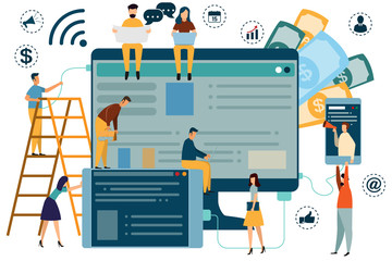 Digital Marketing Concept SEO, market research Website coding, internet search optimization for web page, banner, presentation, social media, documents. vector illustration.