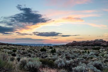 Sunrise over the Devil's Garden in Arches National Park, Utah