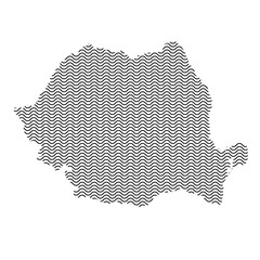 Romania map country abstract silhouette of wavy black repeating lines. Contour of sinusoid curve. Vector illustration.