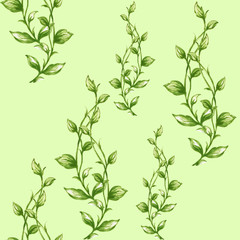 Watercolor seamless botanical leaves pattern