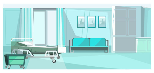 Hospital room with bed on wheels vector illustration. Blue private room un clinic with comfortable sofa, pictures on wall and dresser. Patients room illustration