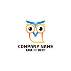owl bird logo, bird head icon, education symbol. vector template ready for use