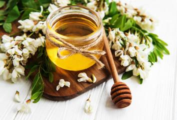 Honey with acacia blossoms