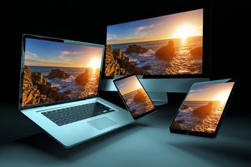 Obraz Modern digital silver tech device 3D rendering - fototapety do salonu
