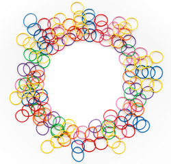 Diversity concept. mix colorful rubber band on white background with copy space