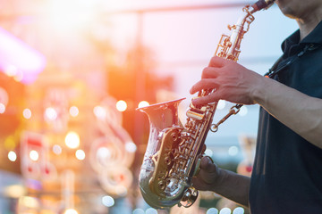 International jazz day and World Jazz festival. Saxophone, music instrument played by saxophonist...