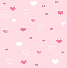 original, unusual, gentle pink background with hearts