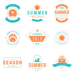 Summer season sale badges and tags design vector retro set