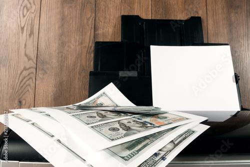 Printer and printed US dollars, counterfeit banknotes