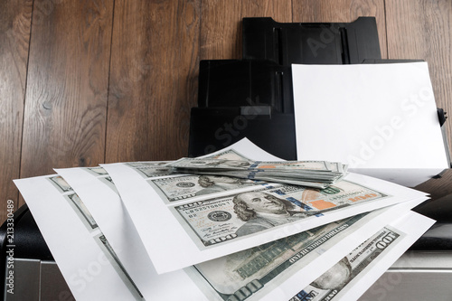 Printer and printed US dollars, counterfeit banknotes, currency