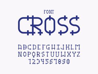Cross font. Vector alphabet