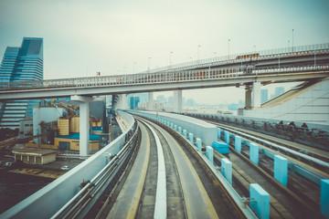 Monorail on Rainbow bridge, Tokyo bay, Japan