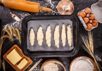 Crescent rolls before baking