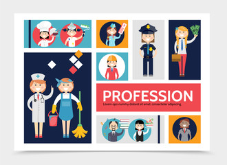 Flat Profession Characters Infographic Template