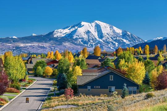 Residential neighborhood in Colorado at autumn