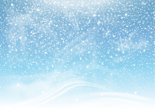 Falling snow on a blue background. Snowstorm and snowflakes. Background for winter holidays. Illustration