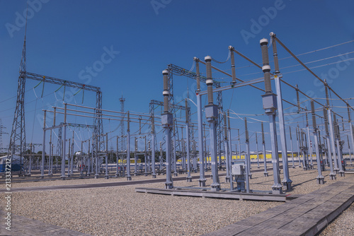 Electrical substation of 110 and 220 kV switchgear, current