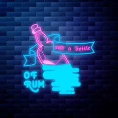 Vintage pirate emblem glowing neon
