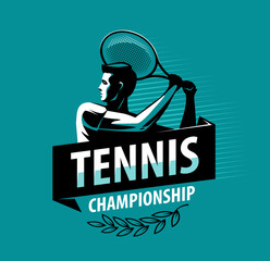 Tennis championship logo or label. Sport concept. Vector illustration