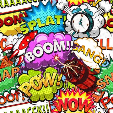 Comic speech bubbles seamless pattern. Rocket. Alarm clock illustration