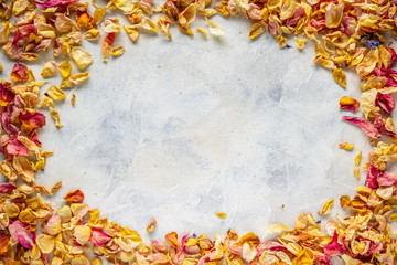 Frame of dried wild rose petals