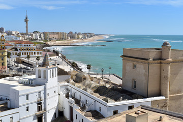 Elevated view of city rooftops seen from the Cathedral Bell tower, Cadiz, Cadiz Province, Andalusia, Spain