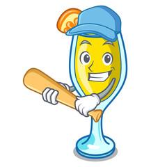 Playing baseball mimosa character cartoon style