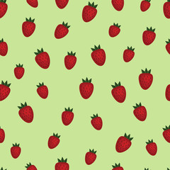 Strawberry seamless pattern. Vector background. Wrapping paper.