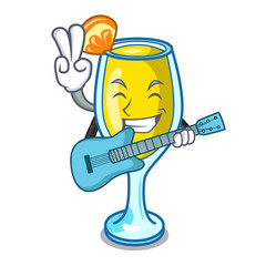 With guitar mimosa mascot cartoon style