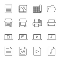 Digitization and scanning set of vector icons outline style