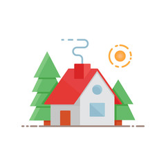 House in the forest vector illustration