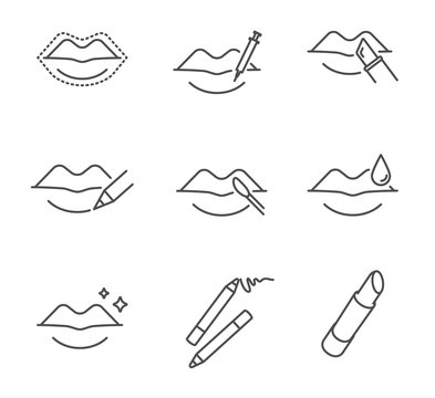 Lips makeup and cosmetology vector icons set outline style
