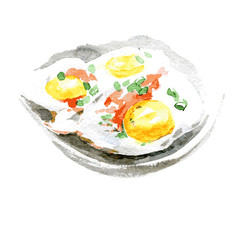 Fried eggs and tomato on the plate. Watercolor illustration on white background. Vector