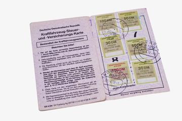 KFZ-Steuerkarte der DDR