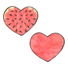 Watercolor isolated watermelon heart  illustration, organic summ