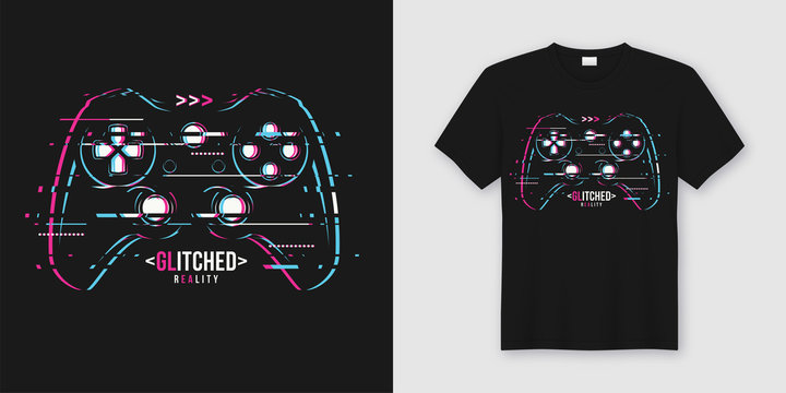 Stylish t-shirt and apparel trendy design with glitchy gamepad,