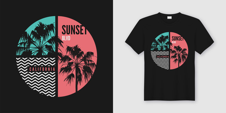 Sunset Blvd California t-shirt and apparel trendy design with pa