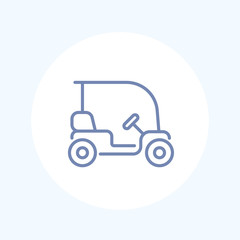 Golf cart, car isolated line icon