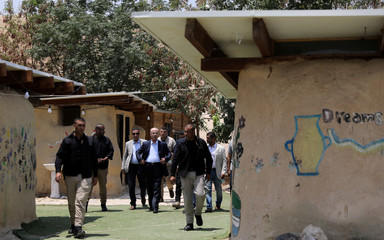Palestinian Prime Minister Rami Hamdallah visits the Bedouin village of Khan al-Ahmar that Israel plans to demolish, in the occupied West Bank