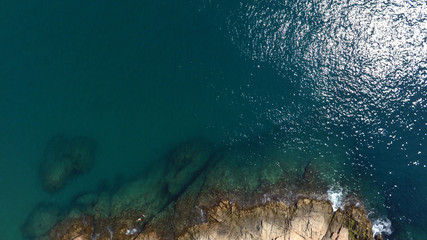 Rock and sea, aerial view
