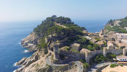 Aerial view of Mediterranean town Tossa De Mar, Costa Brava, Spain