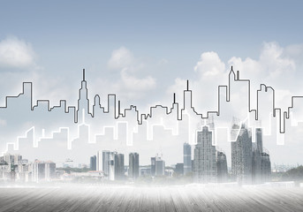 Background image with city center view as modern business life concept