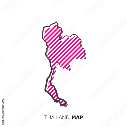 Thailand vector country map. Map outline with dots ...